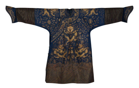 CHINESE BLUE GROUND GOLD FILIGREE EMBROIDERY DRAGON TMPERIAL ROBE