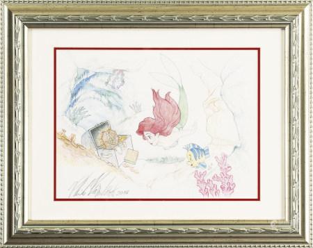 迪士尼 《小美人魚》發現寶藏的愛麗兒手繪原稿