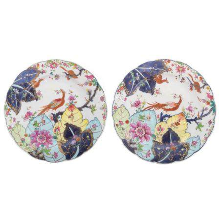 Pair Chinese Export Tobacco Leaf Plates