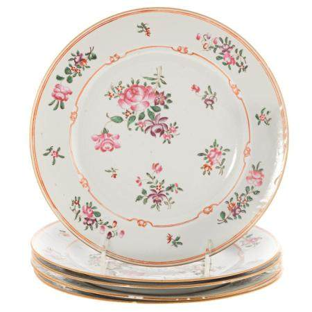 Set of Five Chinese Export Famille Rose Plates