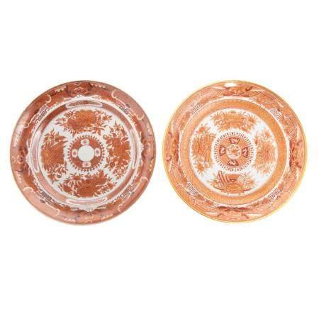 Two Chinese Export Orange Fitzhugh Plates