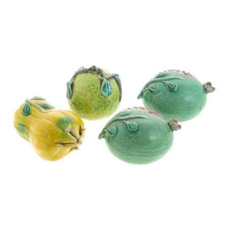Four Chinese Export Porcelain Votive Fruits