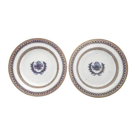 Pair Chinese Export American Market Soup Plates