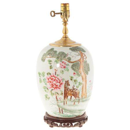 Chinese Export Famille Rose Melon Jar Lamp