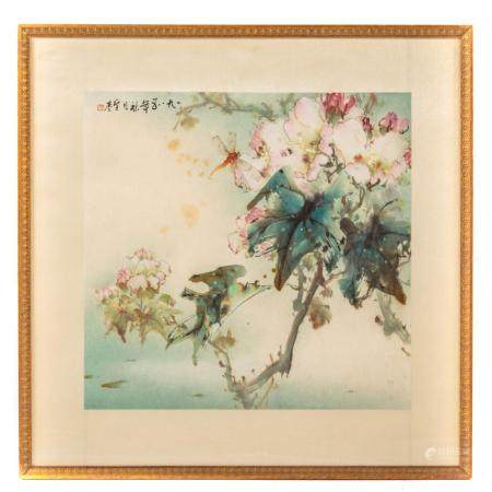 Framed Japanese Scroll Painting