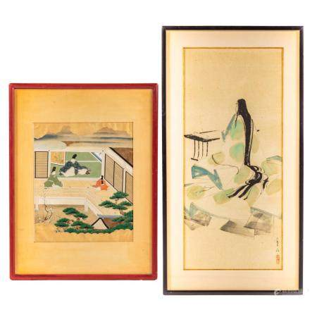 Two Japanese Watercolors, Framed