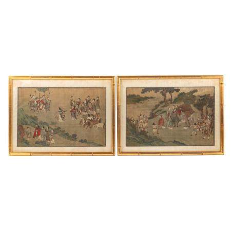 Pair of Chinese Scroll Paintings, Framed