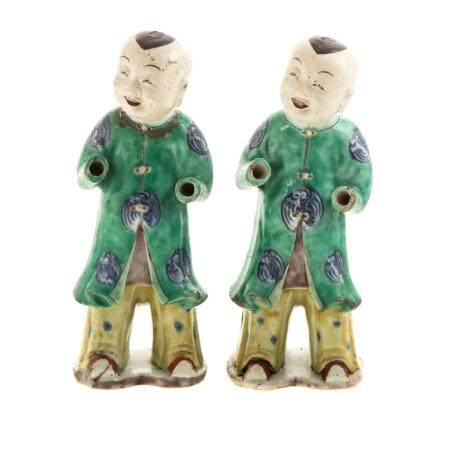Pair Chinese Polychrome Porcelain Ho-Ho Boys
