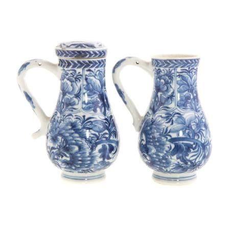 Pair Chinese Export Blue/White Cream Jugs