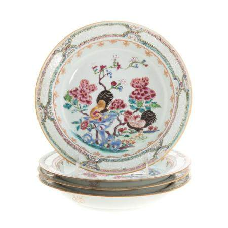 Four Chinese Export Famille Rose Plates