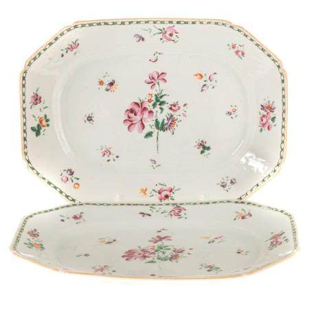 Pair Chinese Export Famille Rose Small Platters