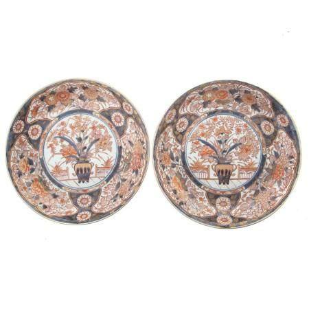 Pair Large Japanese Imari Plates