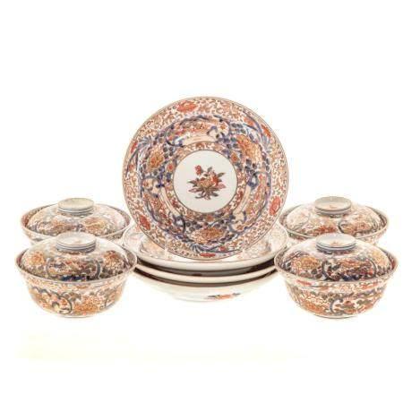 Four Japanese Imari Porcelain Rice Bowls & Plates