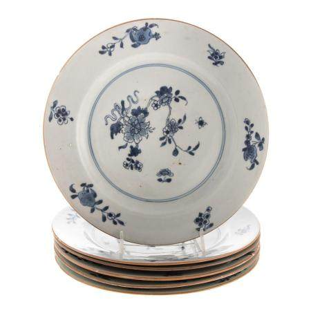 Six Chinese Export Blue/White Plates