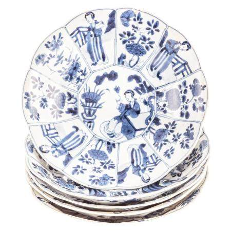 Five Chinese Export Blue/White Paneled Bowl