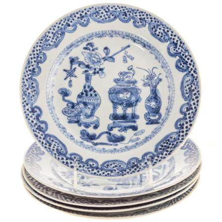 Five Chinese Export Blue/White Plates