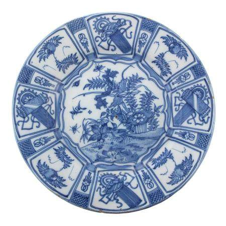English Delftware Charger in the Kraak Manner