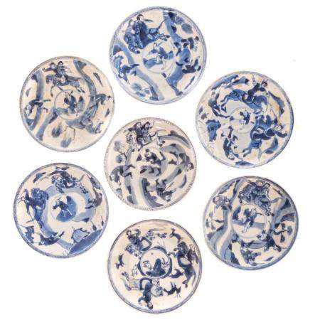 Seven Chinese Export Blue/White Saucers