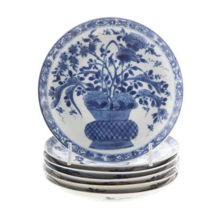 Six Chinese Export Blue/White Saucers