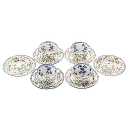 Chinese Export Famille Verte/ Blue Cups & Saucers