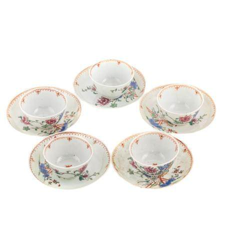 Five Chinese Export Famille Rose Cups & Saucers