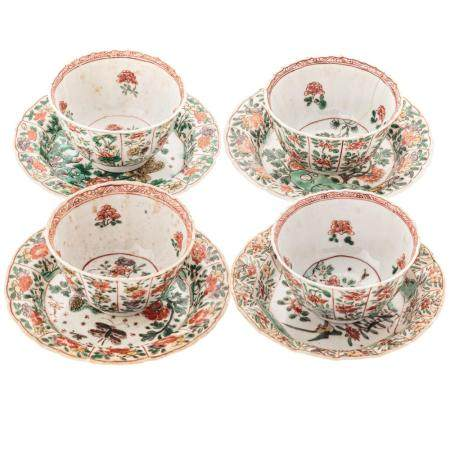 Four Chinese Export Famille Verte Cups & Saucers