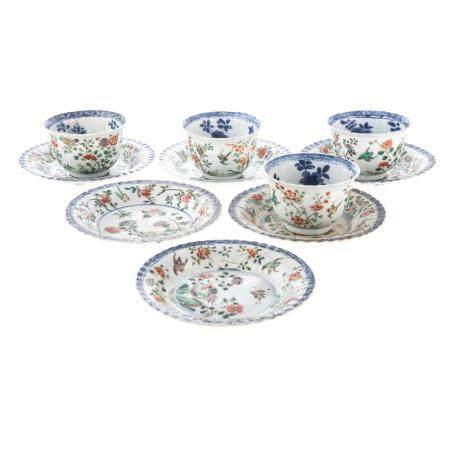 Chinese Export Famille Verte & Blue Cups & Saucers