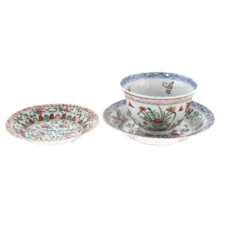 Chinese Export Famille Verte & Blue Cup & Saucer