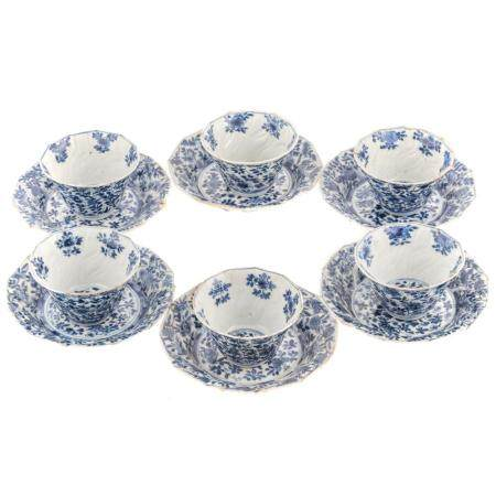 Six Chinese Export Blue/White Cups & Saucers