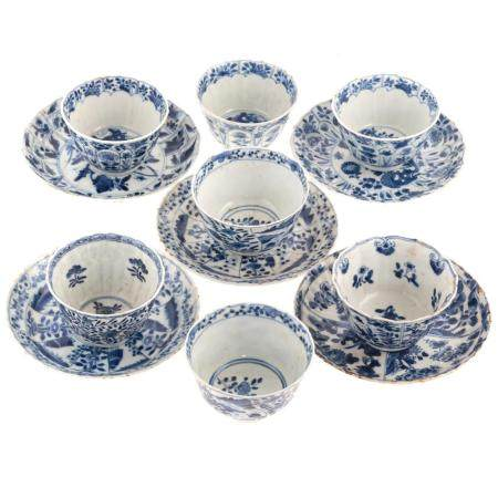 Chinese Export Blue/White Cups & Saucers