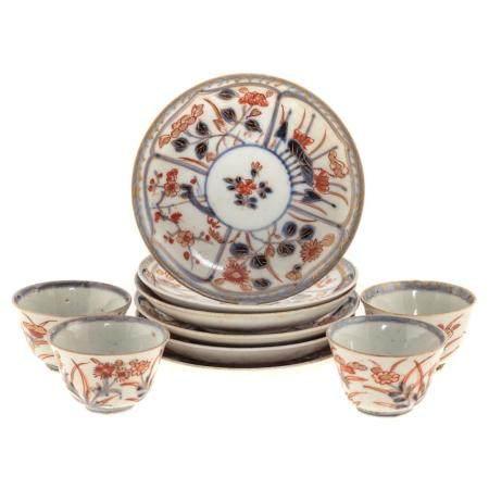 Four Chinese Export Imari Wine Cups & Saucers