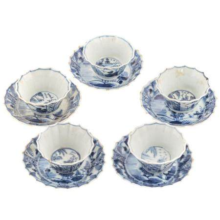 Five Chinese Export Blue/White Wine Cups & Saucers