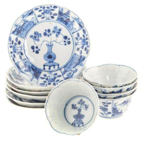 Five Chinese Export Blue/White Cups & Saucers