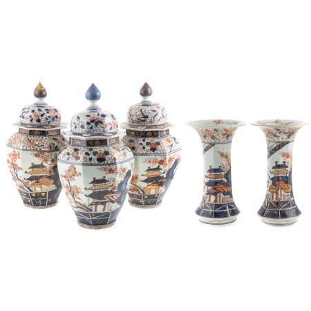 Japanese Imari Porcelain Five Piece Garniture