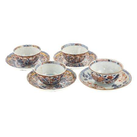 Four Chinese Export Imari Cups & Saucers