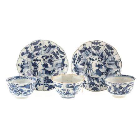 Five Chinese Export Blue/White Articles