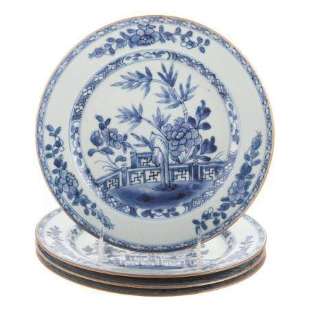 Four Chinese Export Blue/White Plates