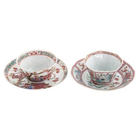 Two Chinese Export Famille Rose Cups & Saucers