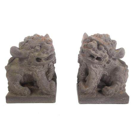 Pair Asian Cast Stone Foo Dogs