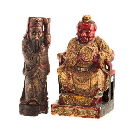 Two Asian Carved Wood Figures