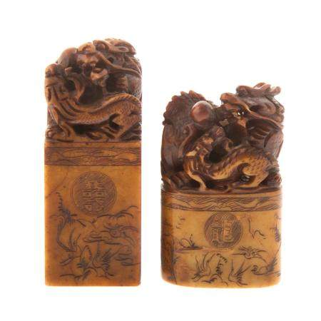 Two Chinese Carved Hardstone Chop Seals