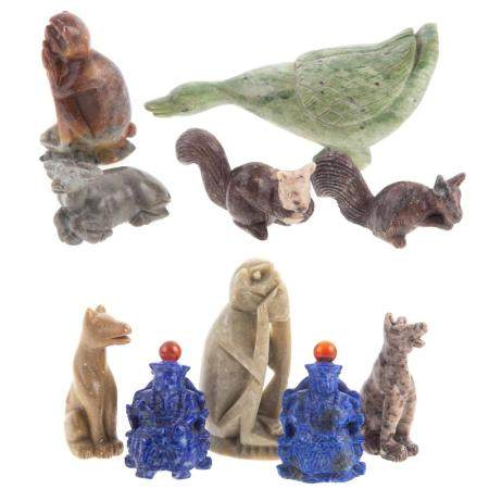 8 Chinese Carved Animals & 2 Lapis Snuff Bottles