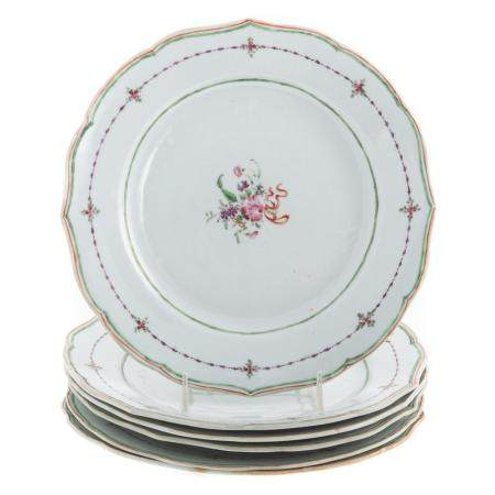 Six Chinese Export Famille Rose Plates