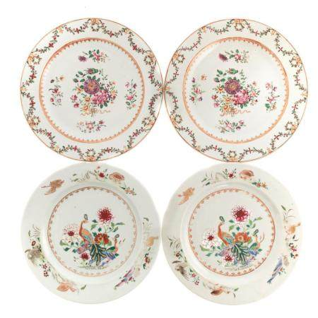 Two Pairs Chinese Export Famille Rose Plates