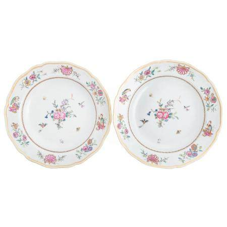Two Chinese Export Famille Rose Soup Plates