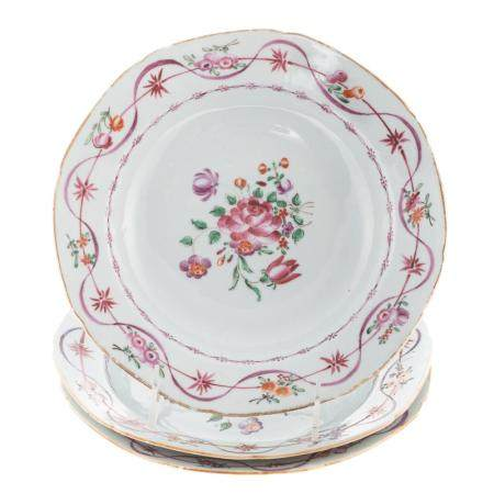Three Chinese Export Famille Rose Soup Plates