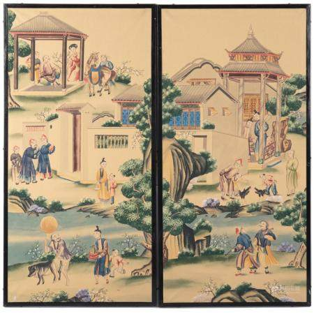 Pair English Gouache Panels in The Chinese Manner