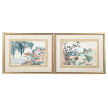 Chinese School 20th Century, Pair Watercolors
