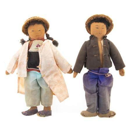 Pair Chinese Silk & Cloth Dolls