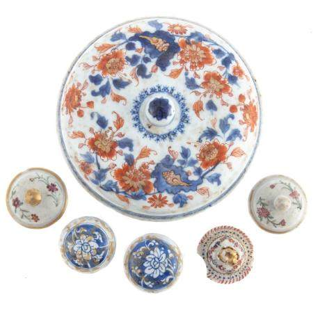 Six Assorted Chinese Export Porcelain Lids